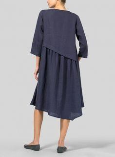 MISSY Clothing - Linen A-line Asymmetrical Hem Dress