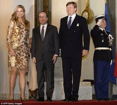 Queen Maxima last wore the gold dress when she attended a state dinner held by Francois Hollande in Paris, with her husband Willem-Alexander, in March