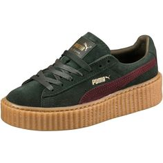Puma PUMA BY RIHANNA MEN'S GREEN-BORDEAUX CREEPER ($140) ❤ liked on Polyvore featuring shoes, platform shoes, long shoes, platform lace up shoes, laced up shoes and punk rock shoes