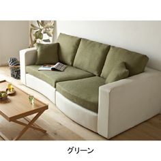 Green neutral modern couch