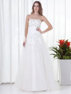 White Net Beading Strapless Floor-Length Prom Dress. See More Strapless at http://www.ourgreatshop.com/Strapless-C937.aspx