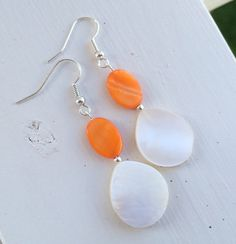 Vibrant Orange and White Mother-of-Pearl Fun by LittleBirdBaubles