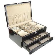Kosmetikkasten, Holz, mit Baumwollsamt & Zinklegierung, Rechteck, Platinfarbe platiniert, schwarz, frei von Nickel, Blei & Kadmium, 370x260x...