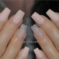 A manicure is a cosmetic elegance therapy for the finger nails and hands. A manicure could deal with just the hands, just the nails, or Pink Glitter Nails, Cute Acrylic Nails, Fancy Nails, Cute Nails, Pretty Nails, My Nails, Glitter Wedding Nails, Blush Pink Nails, Pale Pink Nails