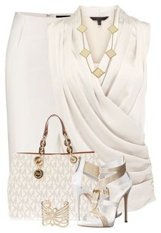 white classy outfit Donna Karan, Coast, Tory Burch, MICHAEL Michael Kors, Giuseppe Zanotti and Carolee Stylish Work Outfits, Summer Work Outfits, Classy Outfits, Chic Outfits, Fashion Outfits, Womens Fashion, Fashion Trends, Outfit Summer, Simple Outfits