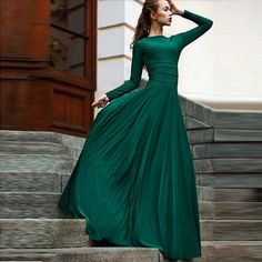 New Emerald Green Long Chiffon Formal Evening Dresses With Full Sleeve A Line Cheap New Arrival 2016 Custom Pageant Woman Prom Party Dress