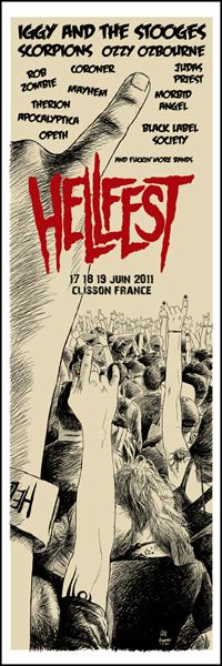 GigPosters.com - Iggy Pop And The Stooges - Scorpions - Ozzy Osbourne - Judas Priest - Rob Zombie - Mayhem - Morbid Angel - Therion - Opeth - Apocalyptica - Black Label Society - Hellfest 2011