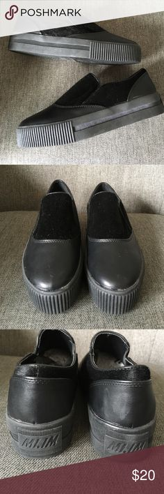 Mi.iM Platform Slip-Ons Never been worn - faux pony hair and ribbed platform sole, slight discoloration on back of right shoe shown in 3rd pic Mi.iM Shoes
