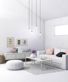 White living room visualisation by My Paradissi © Eleni Psyllaki
