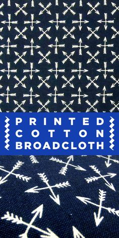 Arrow Print Cotton Broadcloth in Navy and White