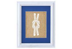 """Fiber & Water  Reef Knot  $36.00  natural burlap (100% jute) ink color: white  12 5/8"""" x 15 5/8"""""""