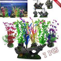 UEETEK Aquarium Artificial Plants Tree Fish Tank Decoration Yellow