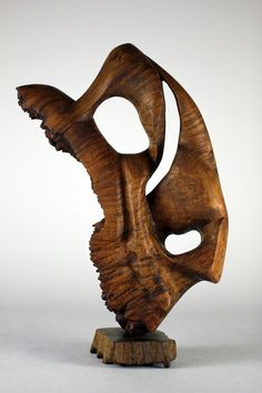 Large Carved Abstract Modern Wood Sculpture Art