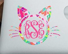 Lilly Pulitzer Inspired Cat Monogram Decal - kitty - meow - laptop decal - cat sticker - tumbler - car decal