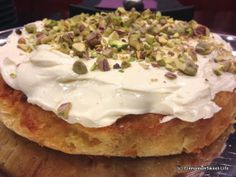 Pistachio, peach & white chocolate cake