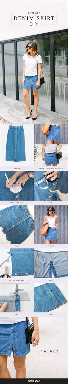 Weekend DIY inspiration: How to turn 1 denim skirt into 2.