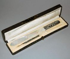 Antique French Silver Mop Dip Pen And Page Turner Writers Set