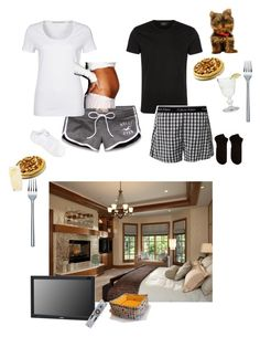 """""""Night With My Husband And My Yorkie Princess"""" by rachelwomack ❤ liked on Polyvore featuring Hollister Co., Passport, Boomerang, Calvin Klein, American Eagle Outfitters, Happy Socks, Audiovox, Schott Zwiesel, La Rochère and Alessi"""