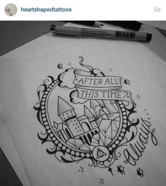 Check it out Potter Heads! Harry Potter Tattoos To Inspire Your Magical Mind Harry Potter Kunst, Arte Do Harry Potter, Harry Potter Drawings, Harry Potter Sketch, Diy Tattoo, Tattoo Fonts, Tattoo Quotes, Trendy Tattoos, New Tattoos