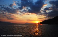 Sunset at Corinth bay.