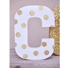 Gold Glitter Polka dot Letter by HOCDesignsMarket on Etsy https://www.etsy.com/listing/162842911/gold-glitter-polka-dot-letter