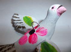 Vintage Mexican Folk Art Pottery BIRD Dove Christmas Tree Ornament WHITE