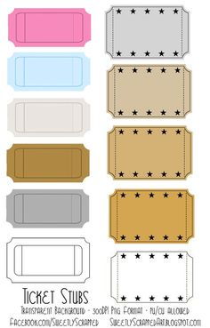 Blank printable ticket stubs - Going to use these as rewards for ...
