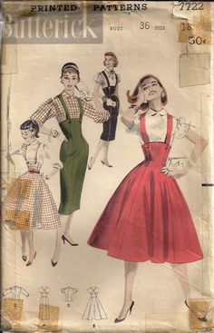 Vintage 50s Sewing Pattern Suspender HIGH WAISTED Pencil Skirt by HoneymoonBus, $12.99
