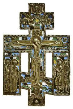 Крест киотный «Распятие Христово с предстоящими» 19 в