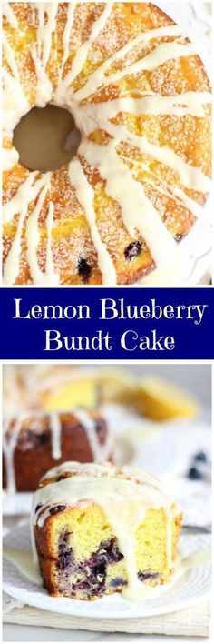 The most quick and easy sweet-tart lemon pudding bundt cake with fresh blueberries and fresh lemon glaze.