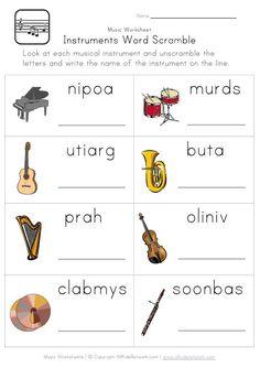 instruments word scramble worksheet