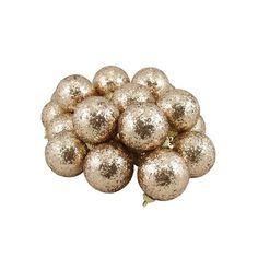 "24ct Gold Shatterproof Sequin Finish Christmas Ball Ornaments 2.5"""" (60mm)"