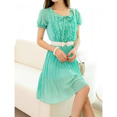 Selvedge Design Refreshing Scoop Neck Solid Color Short Sleeve Women's Chiffon Dress, GREEN, S in Chiffon Dresses | DressLily.com