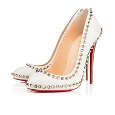 Christian Louboutin Dorispiky 120 pumps in white kidskin leather with round toe, 120mm colombe specchio (dove-colored mirror) heels, and silver spike details.