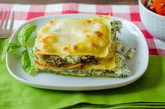three cheese pesto lasagna stacks