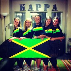KKG OLYMPICS SOCIAL- Jamaican bobsled, mon. Sorority Costumes, Team Costumes, Jamaican Party, Halloween Party, Halloween Costumes, Morale Boosters, Social Themes, T Shirt Time, Creative Costumes