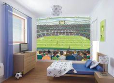 Wall-By-Wall | Voetbal fotobehang. Met dit stadion en voetbalveld verrijk je het interieur van de kamer van een hevige voetbalfan. één mooi geheel aan de muur met dit behang.