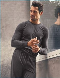 David Gandy unveiled another collaboration with Marks & Spencer of nightwear and loungewear pieces. For the promotional photos, the model teamed up with Hunter & Gatti. David Gandy, Mode Masculine, Spencer, Long Sleeve Pyjamas, Mens Fashion Suits, Pajama Top, Perfect Man, Gorgeous Men, Nightwear
