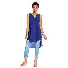727-611 - Indigo Thread Co.™ Woven Sleeveless Pintuck Detailed Hi-Lo Tunic