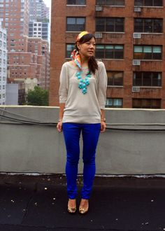 9-28-2011 Big Blue *aerie Slouchy Sweater in Oatmeal  *Forever 21 Premium Denim Colored Skinnies in Royal  *J.Crew Bubble Necklace in Turquoise  *Jessica Simpson Patent Leopard Print Pumps  *Missoni for Target Zig Zag Silk Scarf