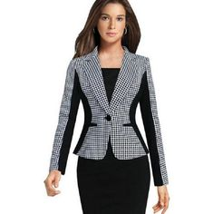 2018 Plaid Blazers Women'S Fomal Clothes Long Sleeve Slim Black White Contrast Color Ladies Suits Fashion Lapel Neck Work Women Tops Autumn From Wuarray, $17.22 | Dhgate.Com