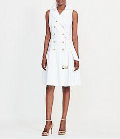 Lauren Ralph Lauren Belted Stretch Cotton Trench Dress #Dillards