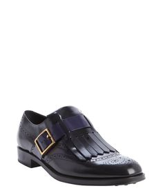 Tod's black and blue leather fringed loafers $463, down from $625. js