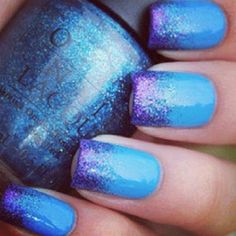 Blue and Purple Ombre Nails