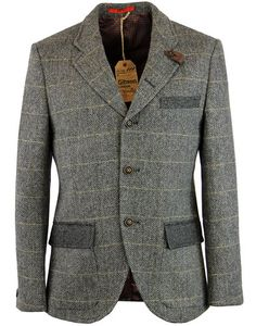 - Gibson London Men's 1960s Mod 'Grouse' 3 button blazer in grey. - Retro textured herringbone fabr