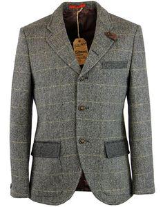 - Gibson London Men's 1960s Mod 'Grouse' 3 button blazer in grey. - Retro textured herringbone fabr
