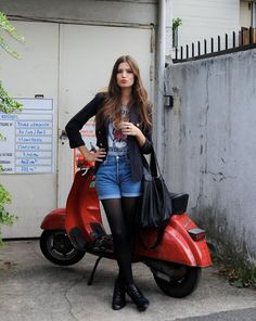 The gorgeous Alma Jodorowsky… with a red Vespa Lambretta Scooter, Vespa Scooters, Piaggio Vespa, Vespa 50, Scooter Motorcycle, Vespa Girl, Scooter Girl, Scooter Custom, Motor Scooters