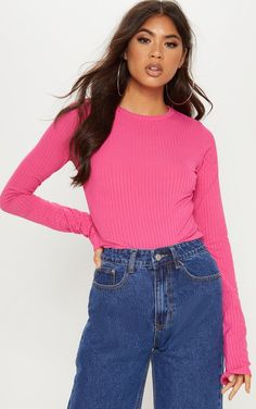 362416e100d7 Pink Rib Crew Neck Long Sleeve TopSwitch up your basics with this crew neck  top