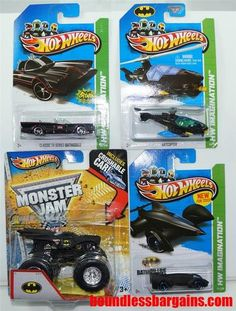 2013 HOT WHEELS LOT OF 4 BATMAN COLLECTION HARD TO FIND COLLECTIBLES  1) BATMAN LIVE BATMOBILE 2) CLASSIC TV SERIES BATMOBILE 3) BATCOPTER 4) BATMOBILE MONSTER TRUCK THESE VEHICLES ARE IN THEIR ORIGINAL PACKAGING AND AS YOU CAN SEE BY THE PHOTOS ARE IN GREAT CONDITION, $21.88