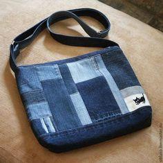 """Bolsas artesanais. Mestres Fair - feito à mão. Compre Denim lona """"Kotosumka 146"""". Handmade. saco de denim"""